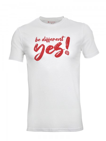 "Tim's Herren-T- Shirt ""be different"" weiß/rot"