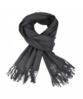 Cashmere-Mix Schal blackgrey mit Lilien Motiv