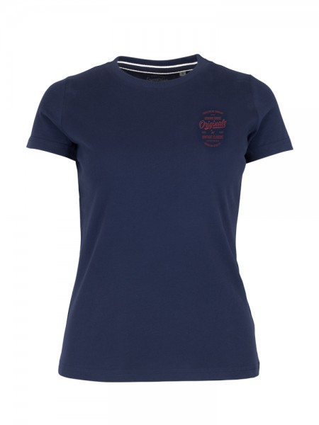 Damen Retro T- Shirt navy- rot