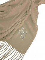 Cashmere-Mix Schal light green grey mit Lilien Motiv