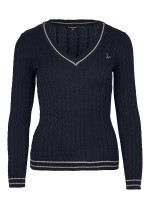 Isabell Werth Pullover Zopf navy- taupe