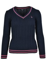 Isabell Werth Pullover Zopf navy-pink