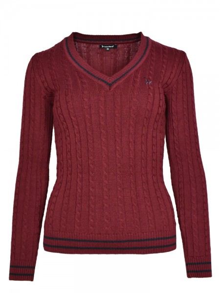 Isabell Werth Pullover Zopf bordeaux-navy